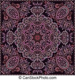 paisley, barwny, square., druk, bandana, design-