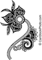 paisley, blomma, illustration