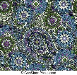 paisley, coloré, oriental, pattern., seamless, arrière-plan., style, vector., floral