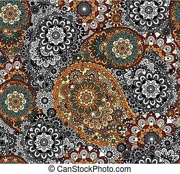 paisley, coloré, pattern., seamless, fond, floral