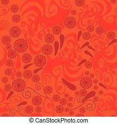 paisley, [converted].eps, rosetta, modello, astratto, seamless, rosso