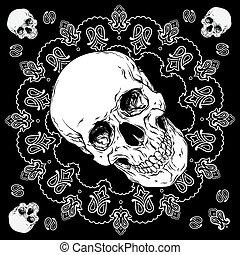 paisley, cranio, ornamento, vetorial, desenho, pretas, bandana, branca