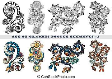 paisley, ensemble, henné, conception, mehndi, doodles, element.