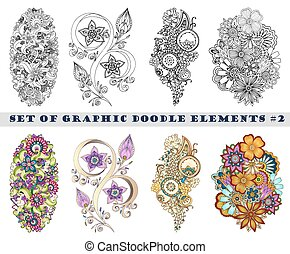 paisley, ensemble, henné, mehndi, doodles, element.