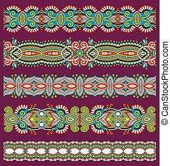 paisley, ensemble, seamless, modèle, raie, ethnique, frontière florale