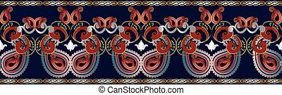 paisley, ethnique, pattern., seamless, border.