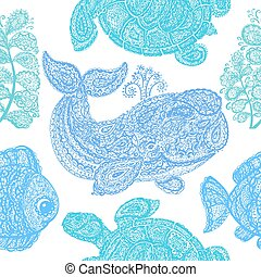 paisley, fish, plante, eau, mer, baleine, tortue, style.