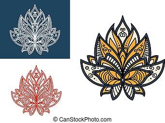 paisley, flor, esboço, ornamento, persa, retro