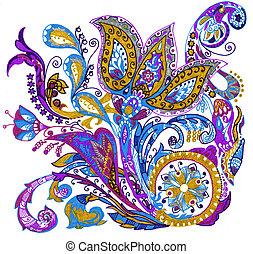 paisley, flor, mão, desenho, ilustração