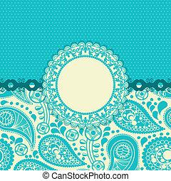 paisley, flor, presente, turquesa, trendy, cartão