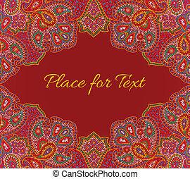 paisley, floral, convite, cartão, em, vermelho, cor