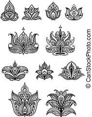 Paisley floral design elements set - Paisley floral design...