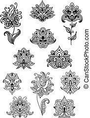 paisley, flores, contoured, flores