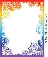 Paisley flower frame design for your label