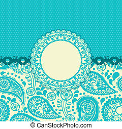 Paisley flower gift card in trendy turquoise
