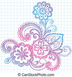 Paisley Flowers Sketchy Doodle - Hand-Drawn Abstract Paisley...