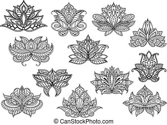 Paisley flowers with persian and turkish ornament
