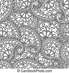 paisley, griffonnage, pattern., style, seamless, dessiné, main