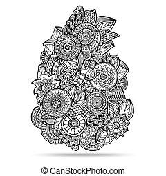 paisley, henné, disegno, mehndi, doodles, element.