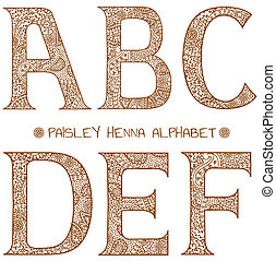 paisley henna alphabet a,b,c,d,e,f