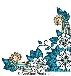 paisley, henna, blomma, bakgrund
