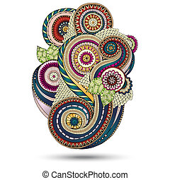paisley, henna, vektor, design, blommig, element.