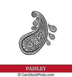 paisley, isolato, illustrazione, penna, vettore, motivi, inchiostro