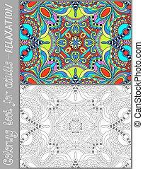 paisley, kleuren, volwassenen, -, boek, ontwerp, bloem,...