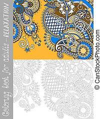 paisley, kolorowanie, adults, -, książka, projektować, kwiat...