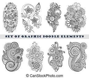 paisley, komplet, doodle, henna, mehndi, element.