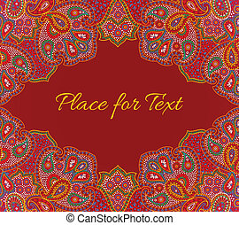 paisley, kwiatowy, zaproszenie, karta, w, czerwony, kolor