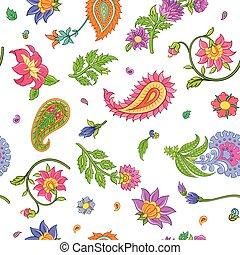 paisley, modèle, seamless, isolé, arrière-plan., clair, vecteur, floral, blanc