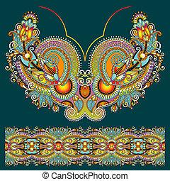 paisley, mode, neckline, ukrain, borduurwerk, sierlijk, floral ontwerpen
