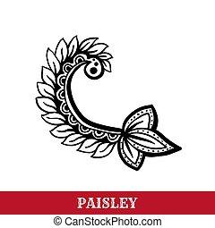 Paisley motifs ink pen vector isolated illustration