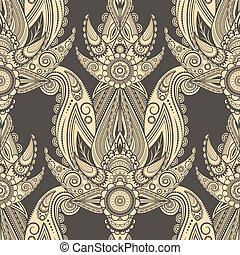 paisley, oriental, seamless, vetorial, fundo, estilo