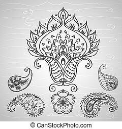paisley ornament, hand drawing , vector illustration