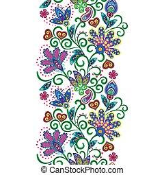 paisley, ornement, pattern., seamless, vecteur, ethnique, frontière