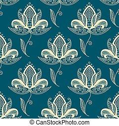 paisley, padrão, seamless, oriental, bege, flores