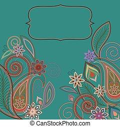 paisley, pattern., -, ontwerp, bloemen, kaart