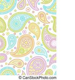 paisley, pattern., színes, seamless