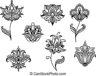 paisley, persa, flores, flores