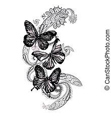 paisley, pillangók