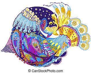 paisley, ptáček, rukopis, kreslení, ilustrace