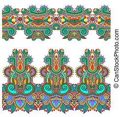paisley, sæt, seamless, mønster, ukrai, stribe, etniske,...
