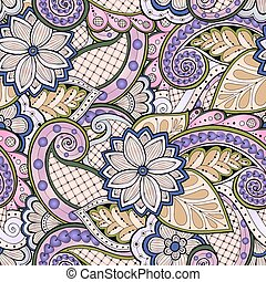 paisley., seamless, ベクトル, パターン, 花, いたずら書き, doodles