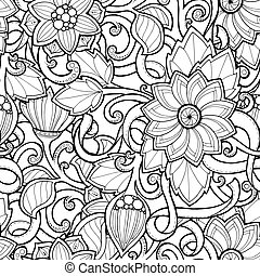 paisley., seamless, ベクトル, 背景, いたずら書き, 花, doodles