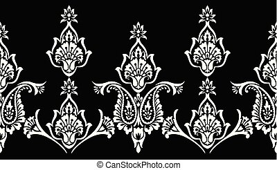 Paisley seamless black and white vector border