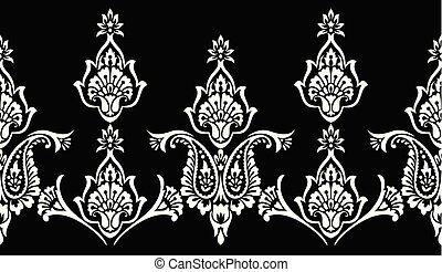 Paisley seamless black and white vector border
