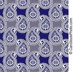 Paisley seamless blue pattern