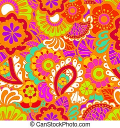 paisley, seamless, colorito, modello